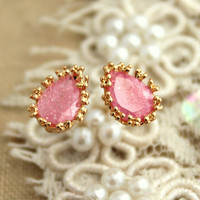 Pink blush zircon stud earrings - 14k Gold filled.