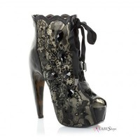 Lulu Black Lace Gemmed Ankle Boot ES-BP575-LULU by Bettie Page Shoes by Ellie
