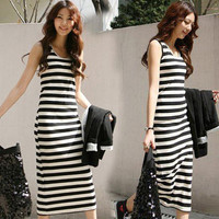 New Womens Leisure Stretchy Striped Sleeveless Backless Mid-calf Dress Slim 6432