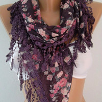 Georgeus Scarf   Elegance Scarf   Feminine Scarf....Purple  Floral