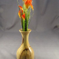 Vase, small, spalted hackberry wood, handturned handcrafted, dried artificial flower | BoatrightWoodworks - Woodworking on ArtFire