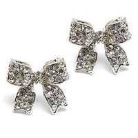 Fashion Crystal Pave Bow Ribbon Stud Earrings Silver:Amazon:Jewelry