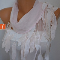Pale Pink Scarf -  Cotton Scarf  - Neclace  Cowl with Lace Edge Women's fashion Shawl Scarf - fatwoman