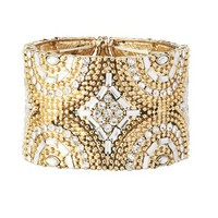 Beaded Pave Metal Stretch Bracelet