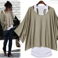 Khaki Loose Fashion Bat Sleeve T-shirt Vest