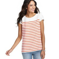 Petite Striped Puff Sleeve Tee