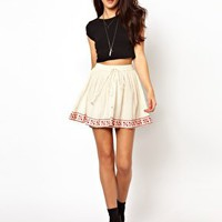 River Island Embroidered Hem Skirt at asos.com