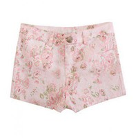 Pink Floral Cluster Mid-rise Tailored Shorts