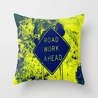 Decorative Pillow Cover - throw pillow home decor beautiful south florida landscape photography road work ahead construction sign 16x16