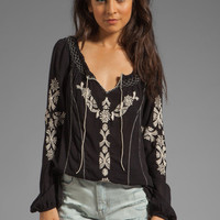 Free People Rolling Stone Woven Top in Black Combo from REVOLVEclothing.com