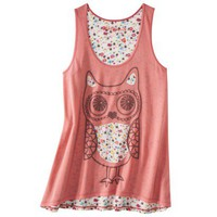 Juniors Racerback Owl Graphic Tank - Coral Burst