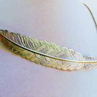 Large Boho Bronze Feather Necklace