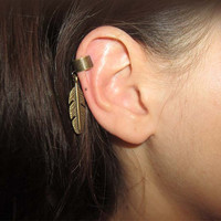 Antique Bronze Ear Cuff With Antique Bronze Leaf