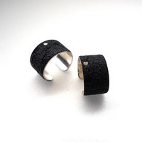 Textured Black Powder Coated Ear Cuffs - 4 pcs - A98