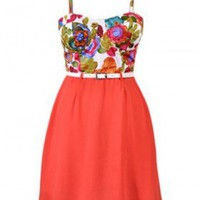 The New Summer Floral Belt Dress