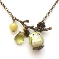 Antiqued Brass Leaf  Jade Quartz  Porcelain Owl by gemandmetal