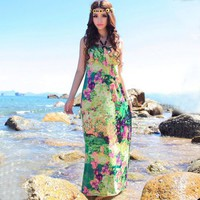 LOVELY RAINBOW COLOR SUMMER DRESS (GREEN)