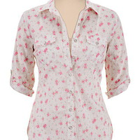 Lace Back Floral Print Button Down Shirt