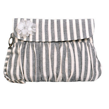 Pleated Purse Grey and White Stripe Linen by Oyeta on Etsy