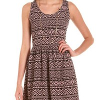 Open Back Aztec A-Line Dress: Charlotte Russe