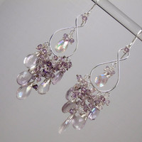 Lilac Chandelier Earrings Mystic Pink Amethyst by DoolittleJewelry