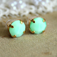 Mint stud gold earrings  14k gold plated earrings with por iloniti