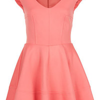 Ribbed V Front Skater Dress