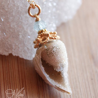 Gold Fossilized Sea Shell Necklace - with Blue Aquamarine - 14K Gold Fill, March Birthstone