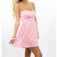 Amazing Pink Lace Tube Summer Party Dress