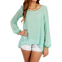 Mint Long Sleeve X Back Top