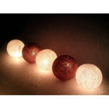 Christmas or Patio Party Light String Thai Vintage Handmade Asian Oriental Handcraft Art Brown Tone Mix Yarn Cotton Ball Lamp (20/set) / Decor Accessory / Garden Decorative / Decor Modern Design from Thailand