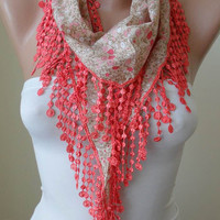 New - Mother's Day Gift - Salmon Flowered Scarf with Salmon Trim Edge - Spring Trend