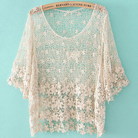 Fashionwoman  fashion Crochet hollow shirt