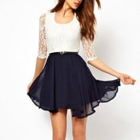 Fashionwoman — Lace stitching chiffon dress pleated skirt