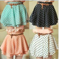 Fashionwoman — 042921 Pleated Polka Dot Chiffon Divided Skirt Mini Dress Shorts culottes w/Belt