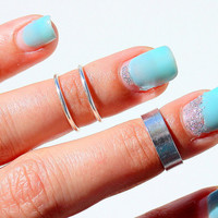 3 Silver Rings -  Midi Ring - Knuckle Rings - Mid Rings - Above the Knuckle Rings  - Set of 3 by Tiny Box