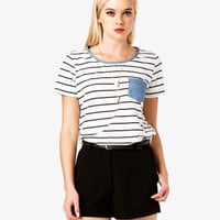 Chambray Trim Striped Tee | FOREVER 21 - 2042668299
