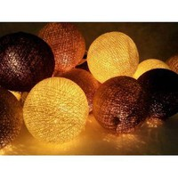 Amazon.com: I Love Handicraft Black Brown and Ivory and White Color Set Cotton Ball String Lights Patio Wedding and Party Decoration (20 Balls/set): Everything Else