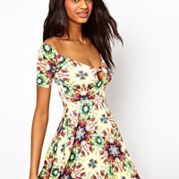 Oh My Love Off Shoulder Skater Dress in Jewel Print at asos.com