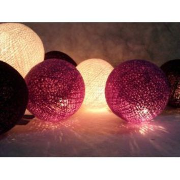 I Love Handicraft Purple Tone Color Set Cotton Ball String Lights Patio Wedding and Party Decoration (20 Balls/set)