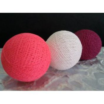 I Love Handicraft Pink Color Set Cotton Ball String Lights Patio Wedding and Party Decoration (20 Balls/set)
