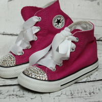 Bling Crystal Converse, Magenta Pink Hi Top with Clear Swarovski Crystal BLING Converse toddler, Ribbon Laces