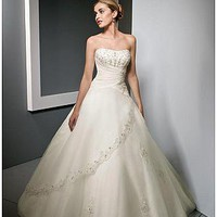 [170.70] Elegant Tulle Ball Gown Strapless Neckline Wedding Dress - Dressilyme.com