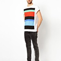 ASOS Stripe T-Shirt With Rolled Sleeves at asos.com