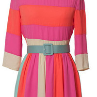 Color Block Belt Dress