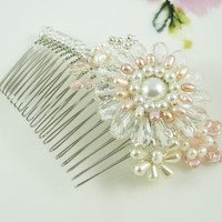 Flower brooch bridal crystal pearl hair comb by AprilSparkles