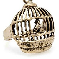 MKL Accessories Ring Bird In Cage in Gold