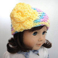 American Girl Doll Flower Hat Rainbow Yellow