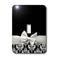 3dRose LLC lsp_56659_1 Elegant and Classy White Ribbon Bow with white damask pattern and Classic Black Background, Single Toggle Switch - Amazon.com
