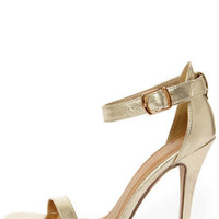 My Delicious Chacha Light Gold Metallic Single Strap High Heels